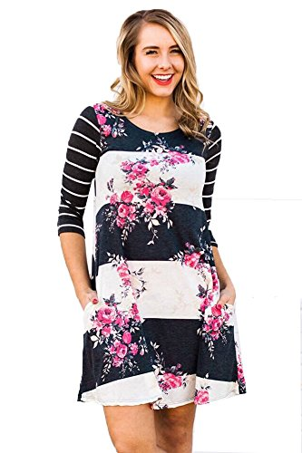 Women's Striped Floral Printed Round Neck Long Sleeve Causal Loose Cotton Top A Line T-shirt Dress (M, Navy blue)