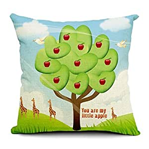 CCTUSGSH English Letters You Are My Little Apple Fruit Apple Tree Cotton Throw Pillow Case Cushion Cover 18 X 18 Inches Two Sides