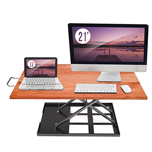 (Standing Desk Converter Adjustable Height - Sit to Stand Up Desktop Table Riser - Elevating Computer Laptop Notebook Workstation Rising Portable Tabletop - Best Office Exercise Work)