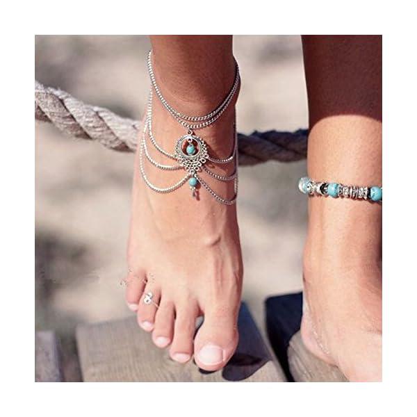 WeiMay 1 X Elegante cavigliera a più strati caviglie in nappa catena donne braccialetto alla caviglia sandalo a piedi… 5 spesavip