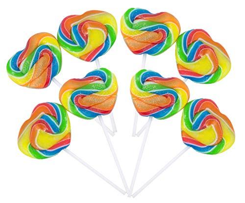 Bulk Gourmet Mini Rainbow Swirl Heart Shaped Lollipops, Pack of 12
