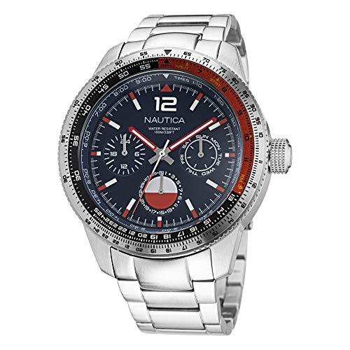 Correa de acero inoxidable de cuarzo Nautica para hombre, plateado, 22 reloj casual (modelo: NAPP39F13)
