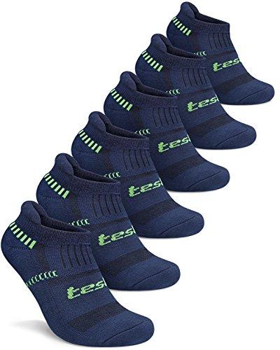 TM-MZS04-NVY_M Tesla Men's 6-Pairs Atheltic No Show Socks Cushioned Comfort w Mesh MZS04