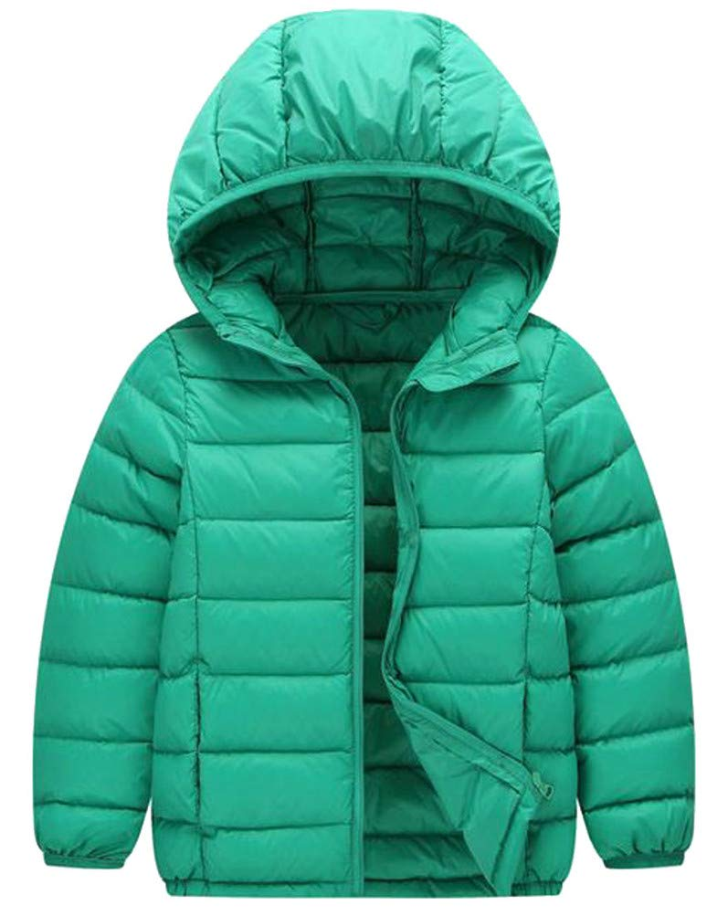 Cromoncent Boy's Hoodid Lightweight Down Packable Portable Solid Jacket Parka Coat Green 5T