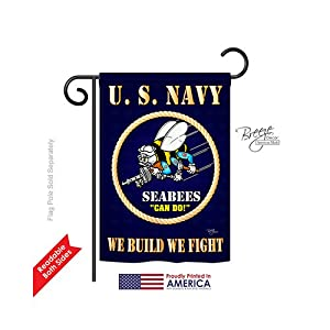 """Breeze Decor G158071 Sea Bees Americana Military Impressions Decorative Vertical Garden Flag 13"""" x 18.5"""" Printed in USA Multi-Color from Two Group"""