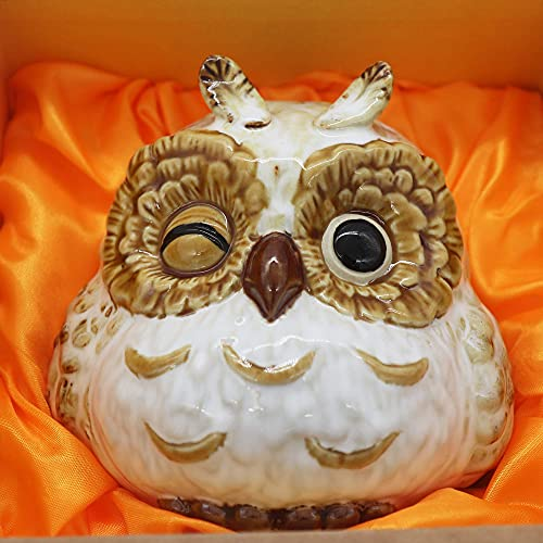 Owl Ornament Small Statue for Home Office Decor Table Decoration, Owl Gift Animal Sculptures Collection for Birds Lovers (White-Cute Owl Coin Bank)