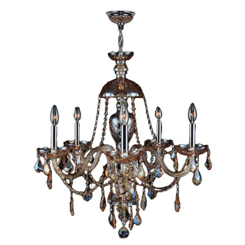 Worldwide Lighting Provence Collection 5 Light Chrome Finish and Amber Crystal Chandelier 25