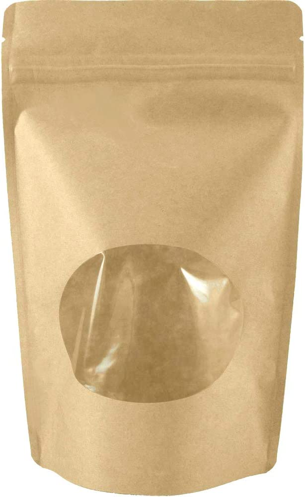 Sohler Natural Kraft Stand up Pouches with Window and Zip Lock Food Storage Bag, Pack of 25 (Large - 16 oz)