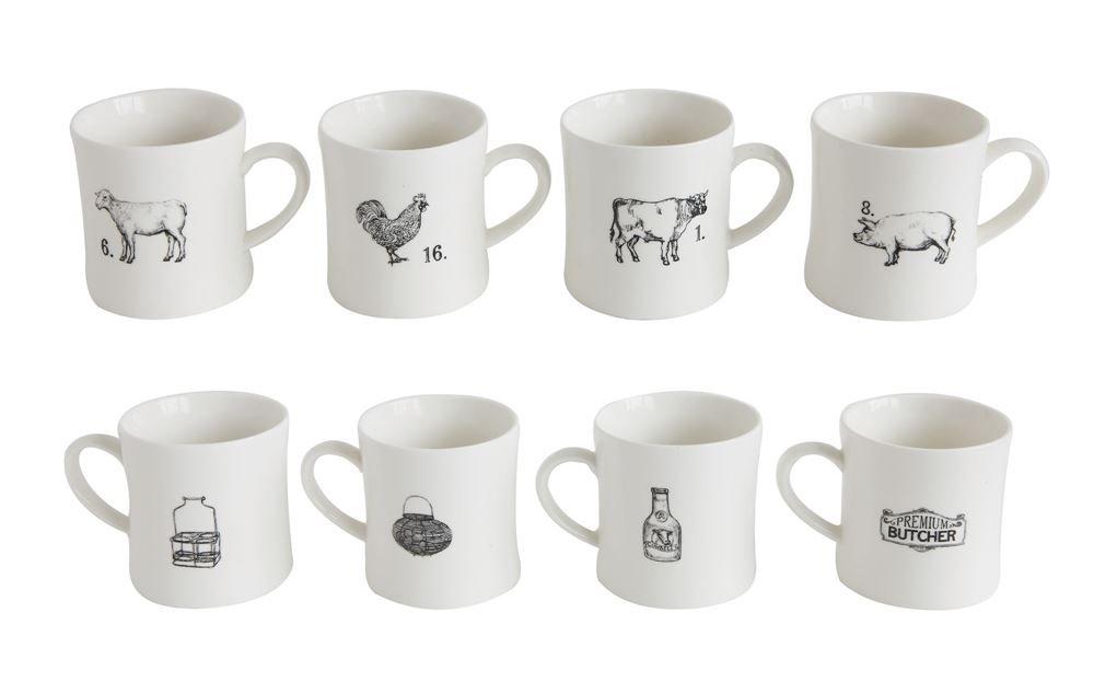97cec6017e4 Creative Co-Op Stoneware Farm Animal Mugs, Set of 4: Amazon.ca: Home &  Kitchen