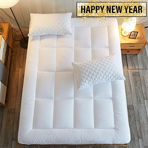 Mattress Pad Cover Cal King Size Down Alternative Quilted Fitted Mattress Topper with 8-21-Inch Deep Pocket by Shilucheng (Mattress Euro Top Super)