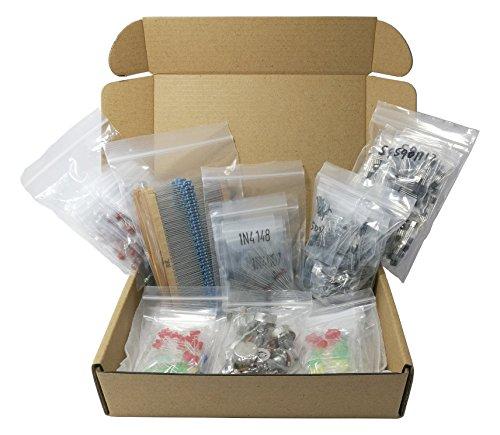 XL Electronic Component Kit Assortment, Capacitors, Resistors, LED, Transistors, Diodes, Potentiometers, 1654 pcs