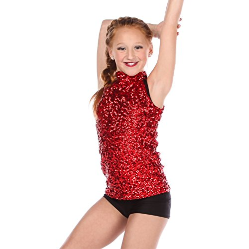 Alexandra Collection Youth Sequin Mock Neck Performance Dance Costume Tank with Zip-Up Back Red 8