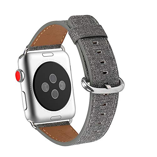 WFEAGL Compatible iWatch Band 38mm 42mm, Top Grain Leather Band Replacement Strap for iWatch Series 3,Series 2,Series 1,Sport, Edition (Denim Grey Band+Silver Buckle)