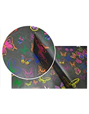 eVincE Gift Wrapping Paper Kids Birthday, Butterfly with facts to wrap | Match the Pair activity | Pack of 25 thick matte recyclable sheets | 70 x 50 cms | Black