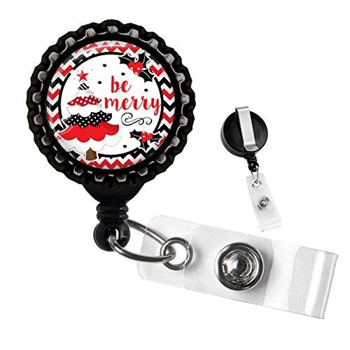 Be Merry Christmas Tree Black Retractable Badge Reel D Tag Holder by Geek Badges (Tree Retractable Christmas)