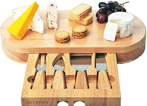 -[ Occasion Oval Cheese Board With Integrated Drawer and 4 Specialist Cheese Knives  ]-