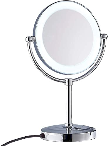 Gecious Standing Makeup Mirror 8 Inches Dual-Sided 1X 10X Magnifying Tabletop Vanity Mirror Matte Black Countertop 14-inch Height Black 10x Manification, Chrome Lighted