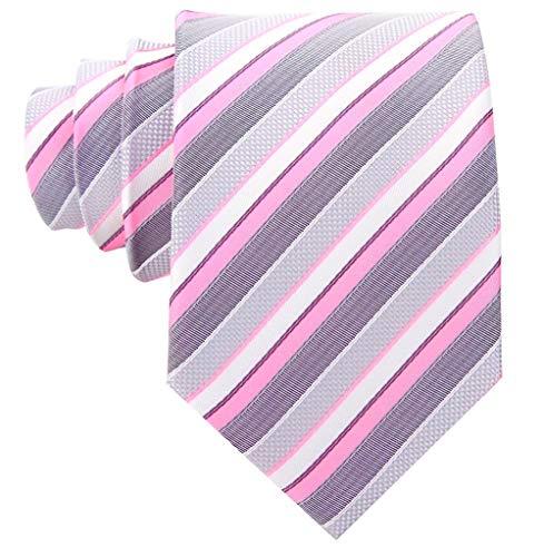 Striped Ties for Men - Woven Necktie - Pink