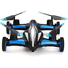 ahahjj Flying RC Car 2.4Ghz 4CH Vehículo Eléctrico Gyro Control Remoto Quadcopter de 6ejes Modo Headless Stunt Drone Mini RC helicóptero con Flip 3d, luces LED y One Key Return