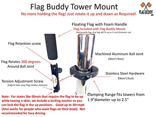 Flag-Buddy-Tower-Mounted-Rotating-Skier-Down-Flag-Holder-with-Free-Floating-Orange-Safety-Flag-Adjustable-Tool-Free-Clamping