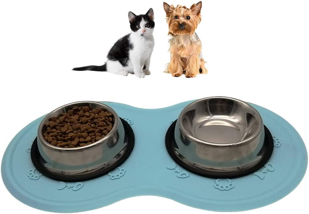 Dog Cat Bowl Mat Placemat,Silicone Waterproof Dog Cat Pet Food Mats Tray