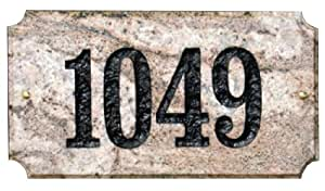 Qualarc EXE-4702SGN-PN Executive Rectangle Address Plaque in Sand Granite Natural Stone Color with 4-Inch Polymer Numbers