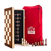 "Smart Tactics 16"" Folding Chess and Checkers Set Made By FSC Certified Wood including Velvet Chess Bag and Extra Chess Pieces"