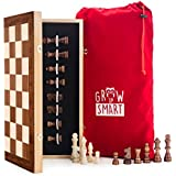 """GrowUpSmart Smart Tactics 16"""" Folding Chess Set Made by FSC Certified Wood - Plus Edition with Chess Bag"""