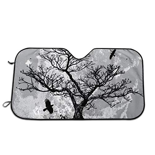 - Skull Tree Black Eagle Windshield Summer Blocks UV Rays Protector Sun Shade Cover Easy Set for Cars