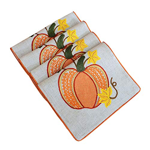 Grelucgo Set of 4 Thanksgiving Holiday Embroidered Pumpkins Table Placemats for Fall, Rectangular 12 by 18 Inch