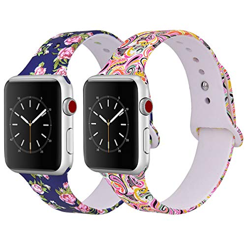 Flower Print Watch - VIGOSS Apple Watch Band 38mm Women, Soft Silicone Cute Strap Replacement Floral Print iWatch Band Flower Wristbands Apple Watch Series 3/2/1 Sport Edition