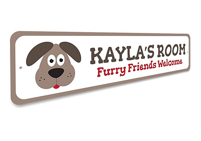 ENSA1002065 Puppy Dog Kid Room Sign Personalized Furry Friends Welcome Child