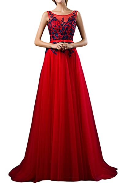 sunvary una línea appliques gasa larga de madre de la novia vestido de novia fiesta Rojo