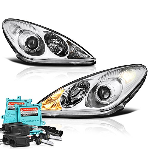 VIPMotoZ 2005-2006 Lexus ES330 Headlights - Built In Xenon HID Low Beam, Metallic Chrome Housing, Driver and Passenger Side Black Diamond Bright Xenon Bulb