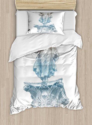 Ambesonne Retro Duvet Cover Set, Antique Muse Athens Hellenistic Period Mythological Monument Art, Decorative 2 Piece Bedding Set with 1 Pillow Sham, Twin Size, Pale Blue Umber