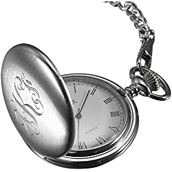 Personalized Visol Brushed Chrome Quartz Pocket Watch with Free Engraving