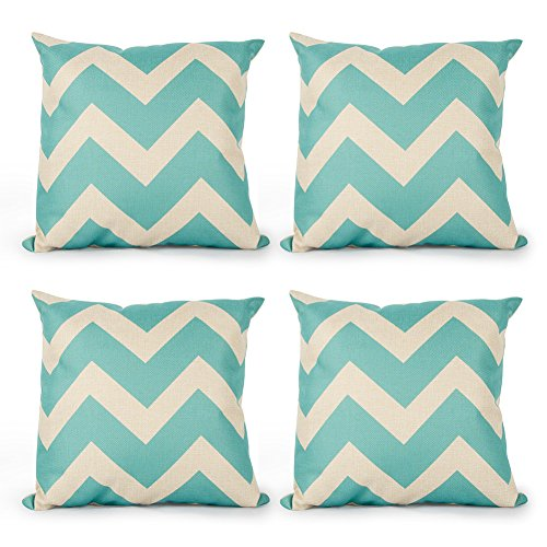 Top Finel Square Decorative Throw Pillow Covers Cotton Linen Outdoor Cushion Covers 18 X 18 for Sofa, Set of 4 - Waves ()