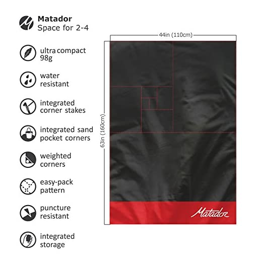 Picnic Beach Camping Matador Pocket Blanket 2.0 New Version Water Resistant with Built-in Ground Stakes Hiking