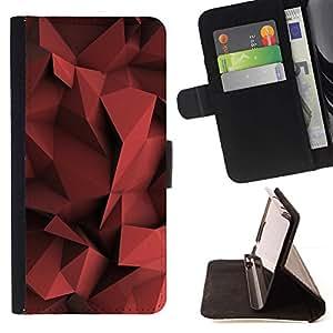 For Apple Apple iPhone 4 / iPhone 4S Case , Blood Red Pastel Diseño Forma- la tarjeta de Crédito Slots PU Funda de cuero Monedero caso cubierta de piel