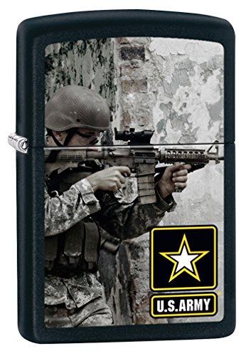 - Zippo US Army Soldier and Gun Black Matte Pocket Lighter