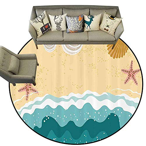 Print Area rugOcean Sea Waves Sandy Beach with Starfish Shell Oyster Figures Exotic Holiday Picture Living Dinning Room & Bedroom Rugs D63 Sand Brown Teal