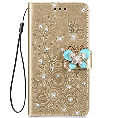 - IKASEFU Shiny butterfly Rhinestone Emboss blossom Floral Pu Leather Diamond Bling Wallet Strap Case with Card Holder Magnetic Flip Cover Case Compatible with iPhone 7/8,Gold