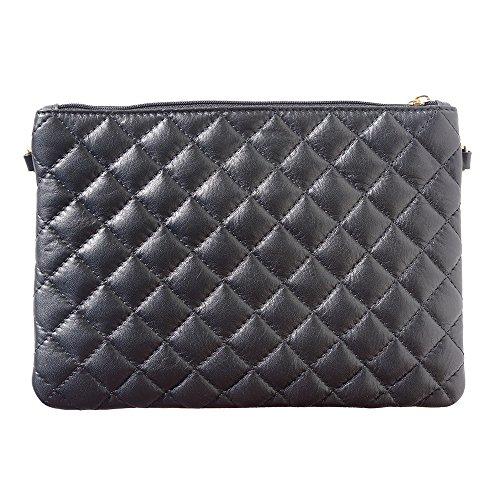 Piel Market Becerro Bolso Leather De 6143 La Hecha Muñeca Negro Florence xw80qAd58