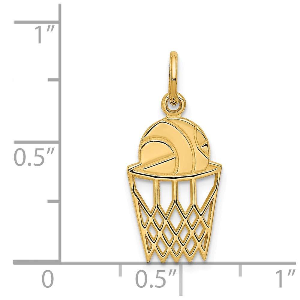Jewel Tie 14K Yellow Gold Basketball in Net Charm 0.87 in x 0.39 in