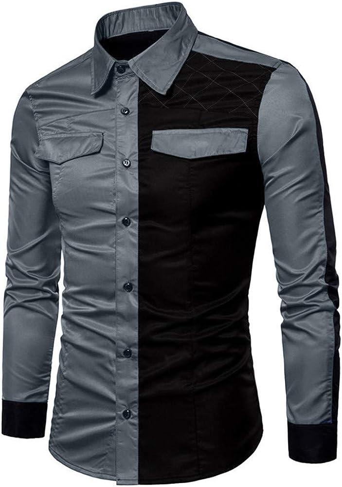 VPASS Hombre Camisas, Manga Larga Casual Patchwork Camisa de Moda ...