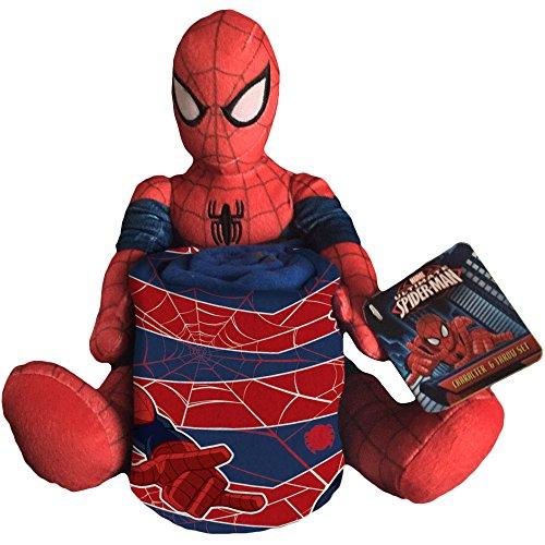 Marvel Spiderman Plush Figurine Doll and Blanket Throw Gift Set