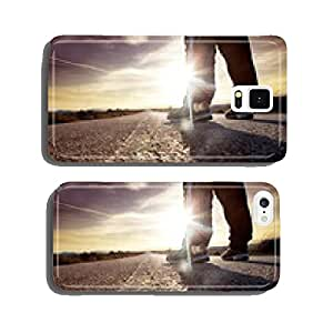 man on the road and sunset cell phone cover case iPhone6 Plus