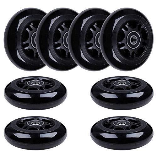 8-Pack Inline Skate Wheels 85A Rollerblade Replacement Wheel with Bearings ABEC-9 (Black HUB Black Wheel, 80mm)