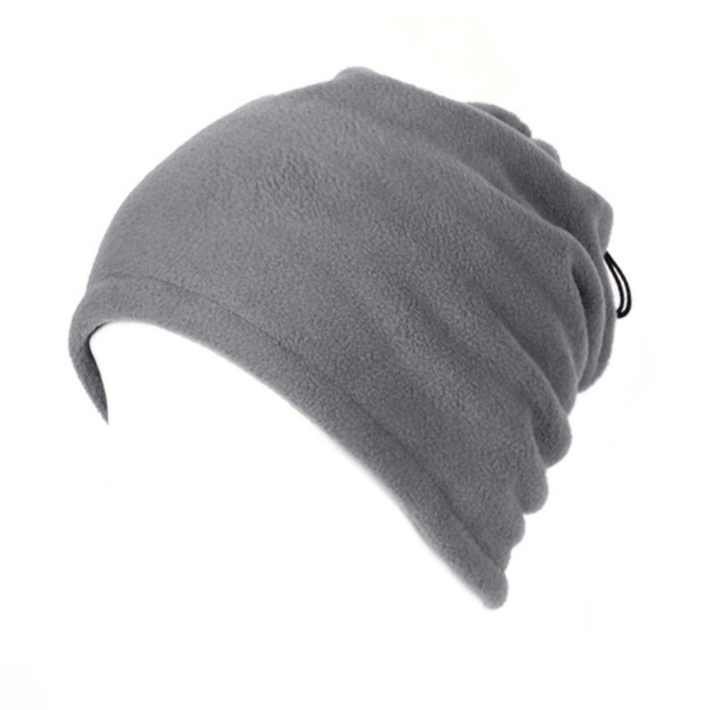 Opromo Fleece Snood Scarf Neck Warmer Beanie Hat Ski Balaclava Thermal Ski Wear-Gray Double Layer-12piece