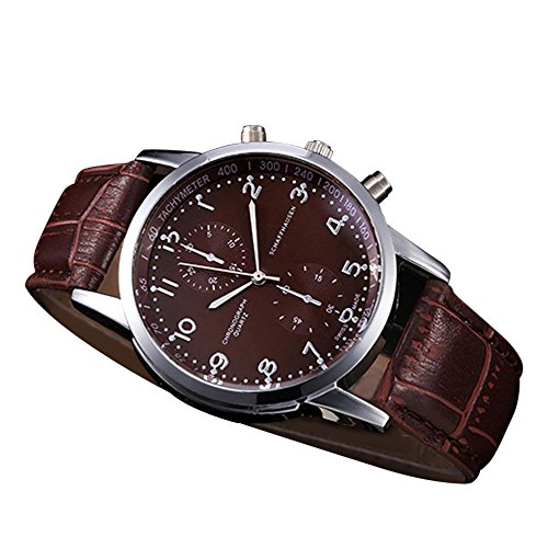 OWMEOT Watches,New Waterproof Unisex Casual Geneva Faux Leather Quartz Analog Wrist Watch Fashion (Brown)